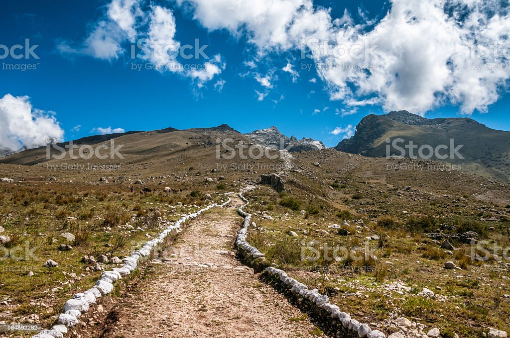 Hiking Trail To Lake Churup In The Peruvian Andes stock photo