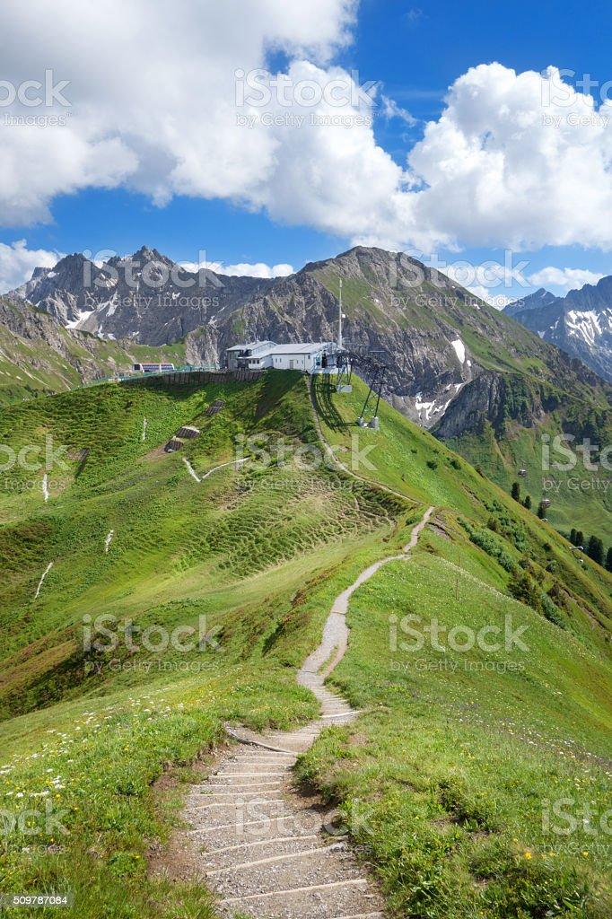 Hiking trail to the Kanzelwandbahn stock photo