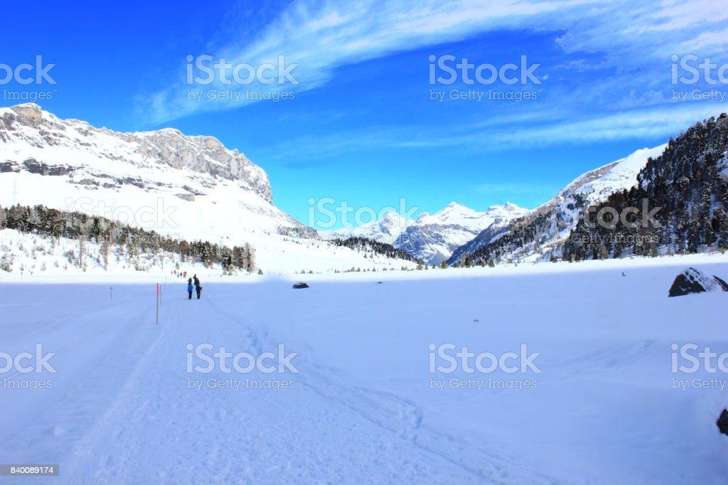 Hiking trails in Bernese Oberland, Switzerland stock photo