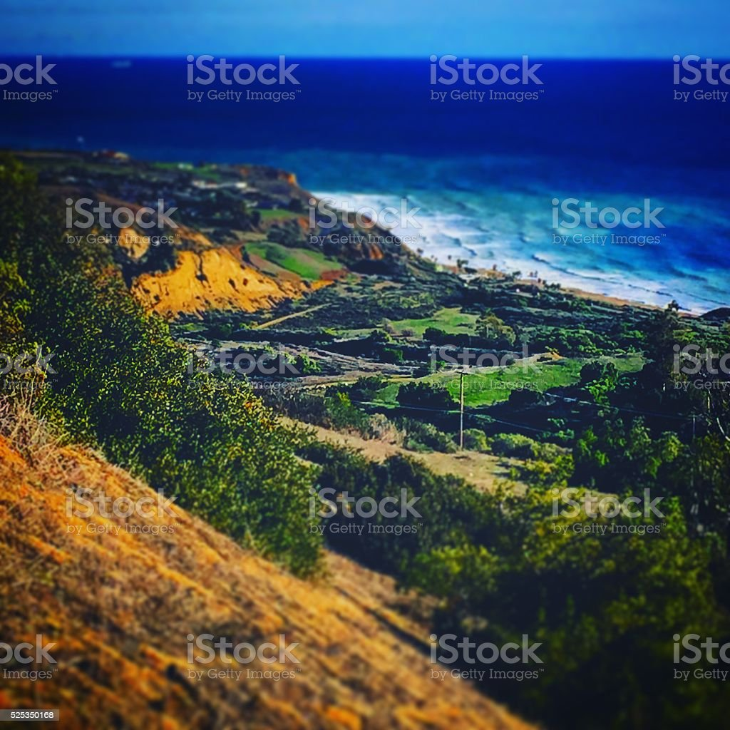 Hiking trails overlooking the ocean. stock photo