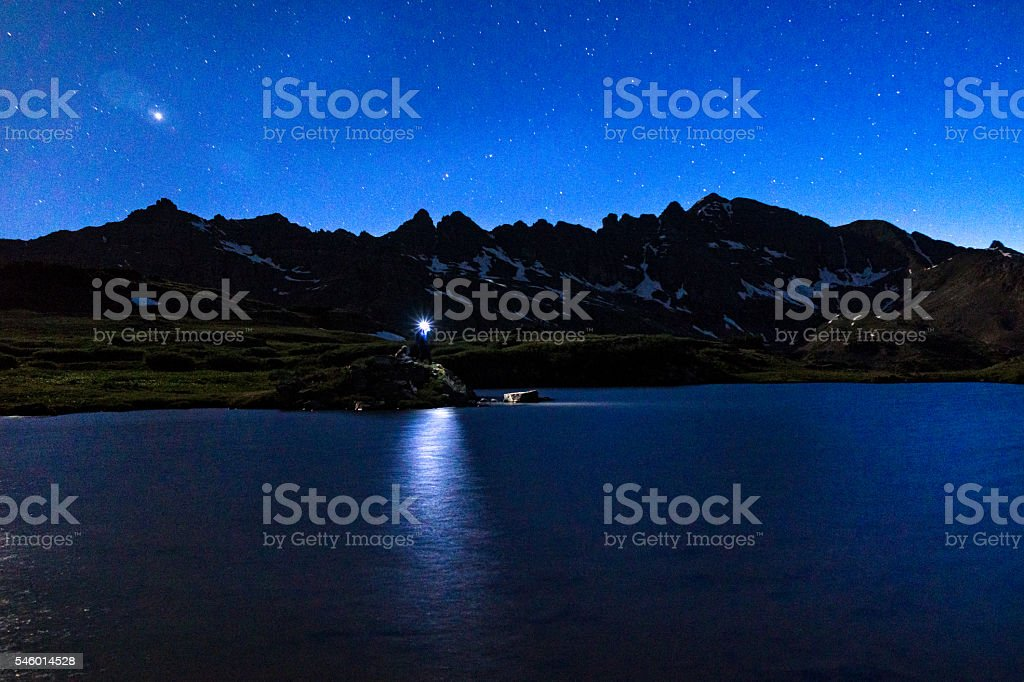 Hiking Under the Moonlight with Headlamp in the Elk Mountains stock photo
