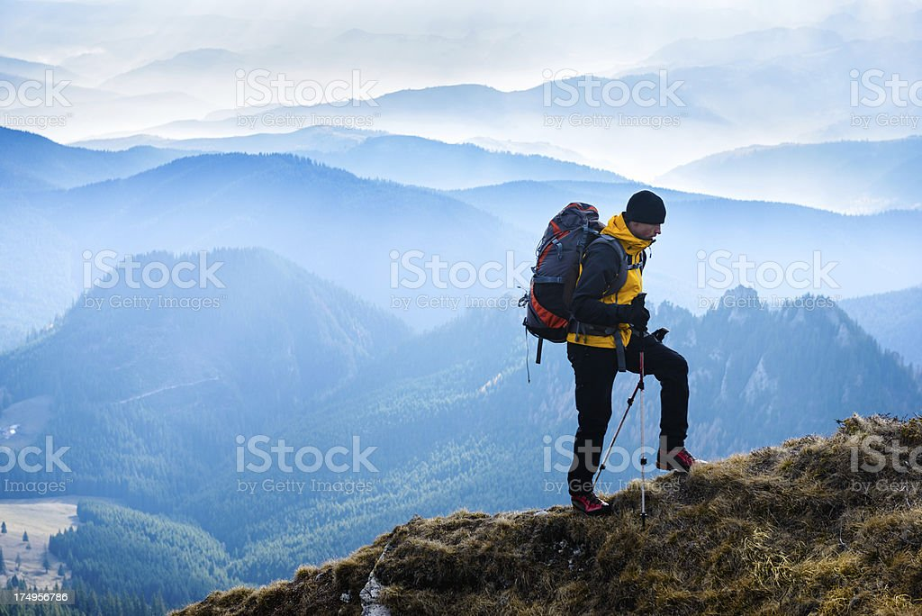hiking up in the mountain royalty-free stock photo