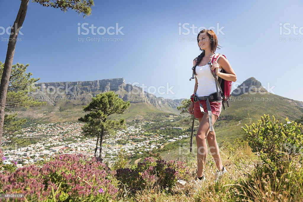 Hiking up Signal Hills, Cape Town stock photo