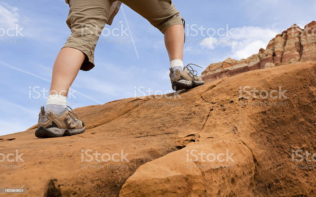 Hiking up the red rocks royalty-free stock photo
