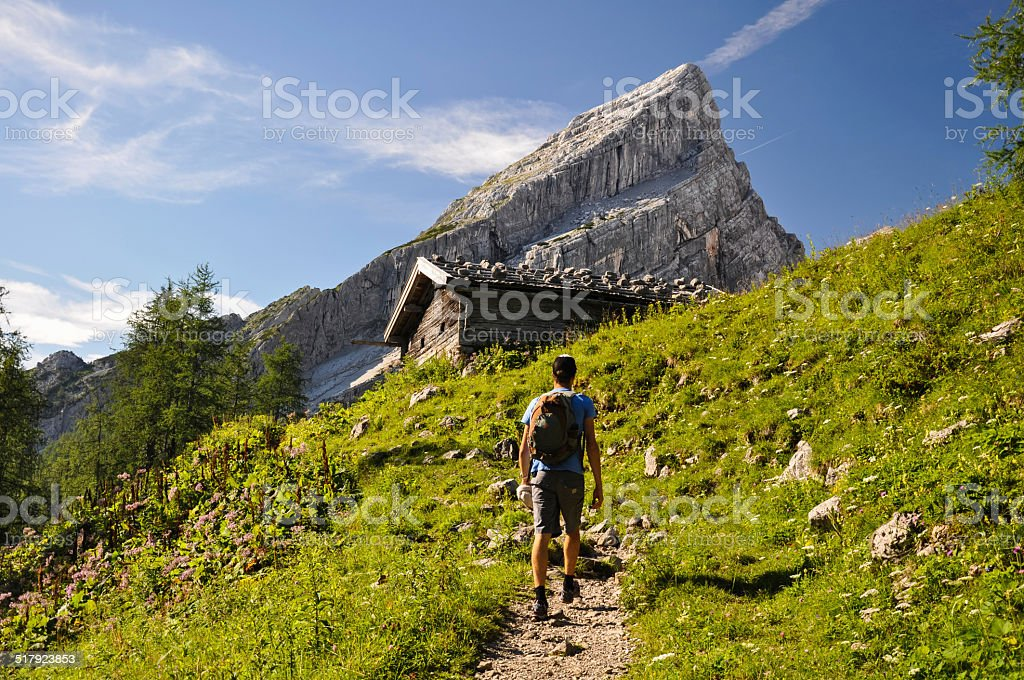 Hiking up Watzmann Mountain - Berchtesgaden, Germany stock photo
