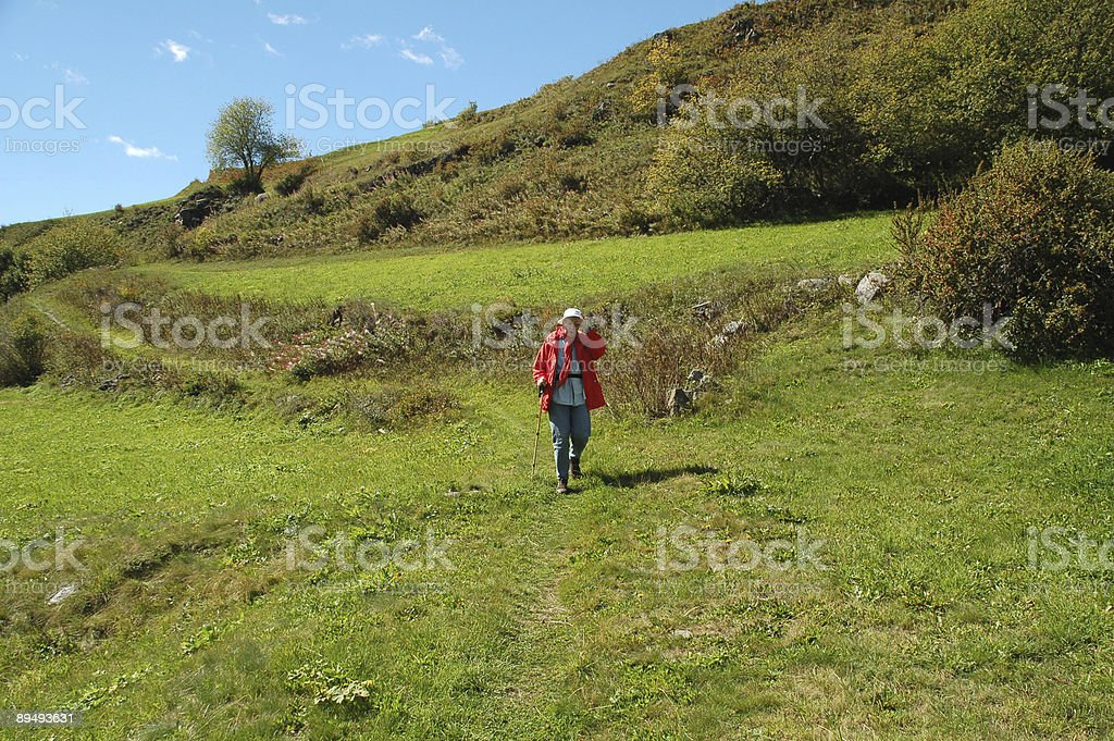 Hiking Woman in the Alps royalty-free stock photo