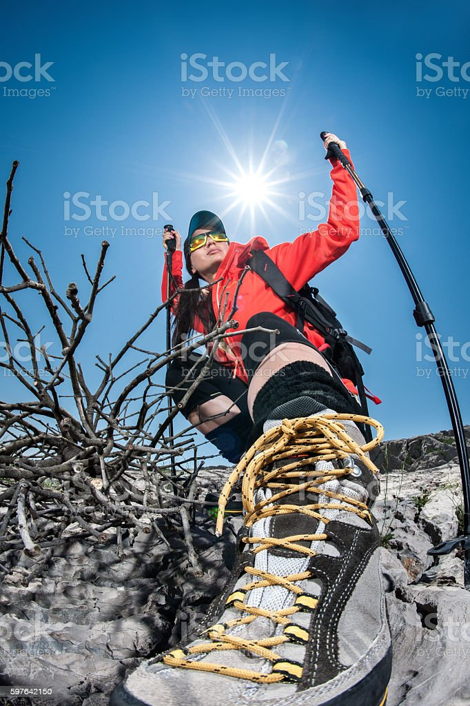 Hiking woman outdoors stock photo