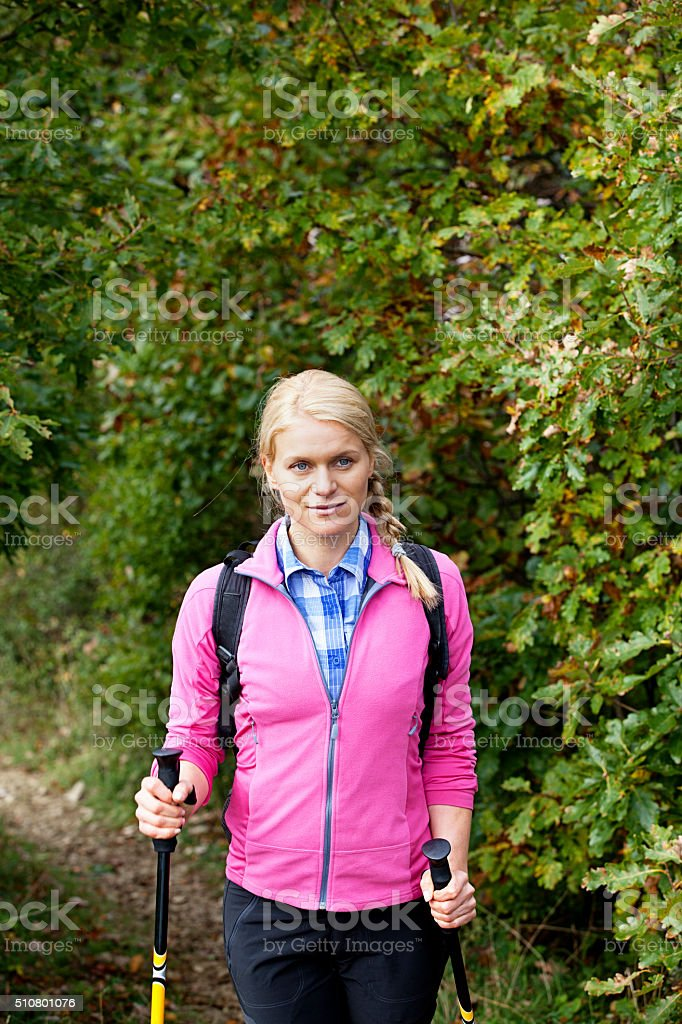 hiking woman stock photo