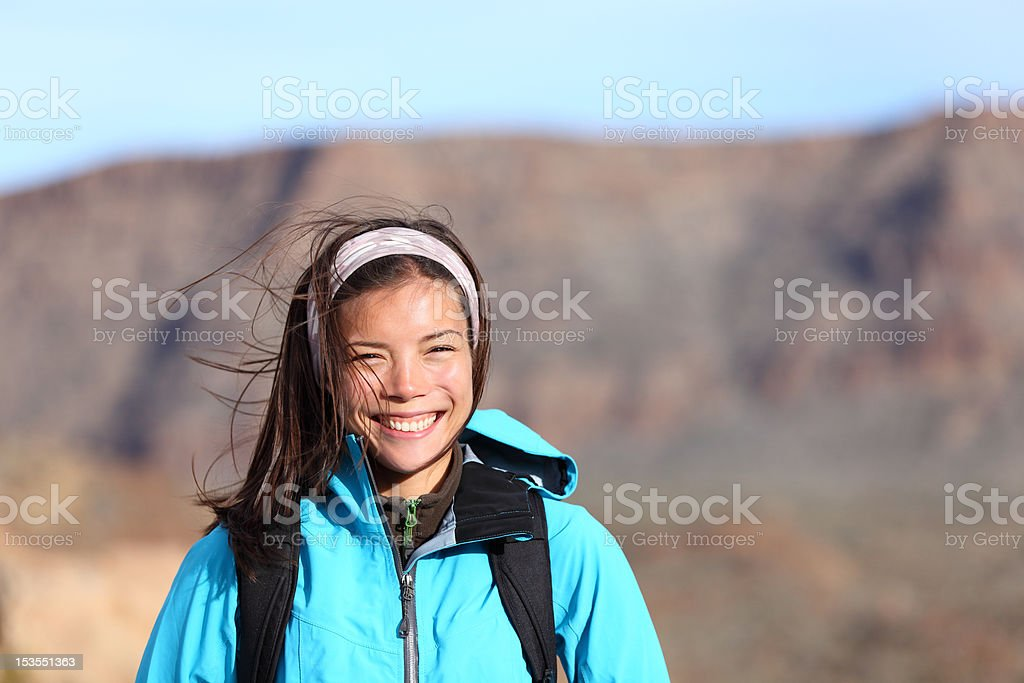 hiking woman smiling happy royalty-free stock photo