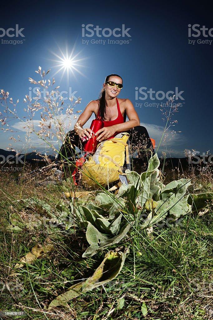 Hiking woman smiling royalty-free stock photo