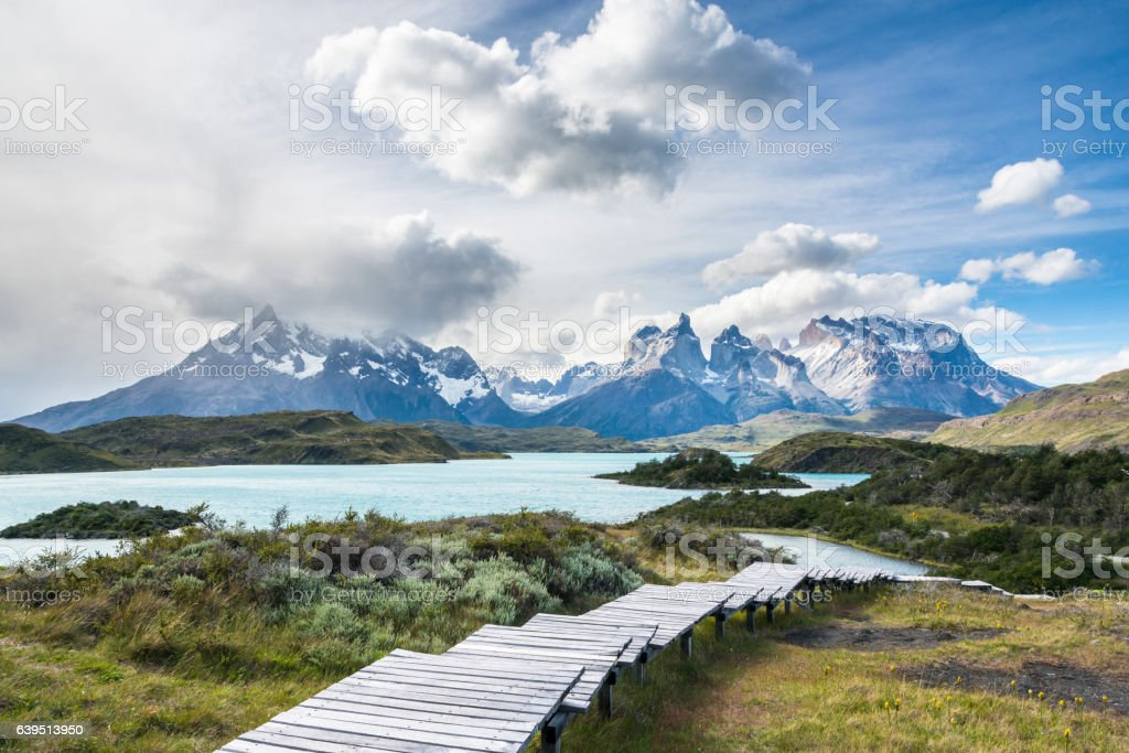 Hiking wooden path in Torres del Paine National Park, Patagonia stock photo