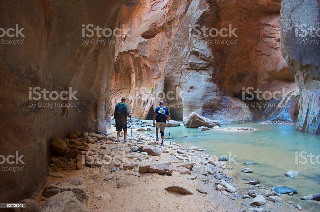 Hiking Zion Narrows stock photo