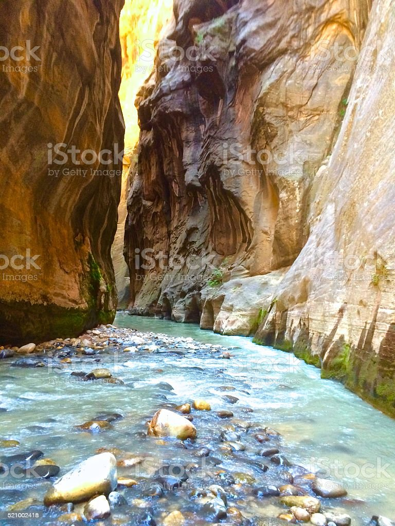 Hiking Zion Narrows stock photo