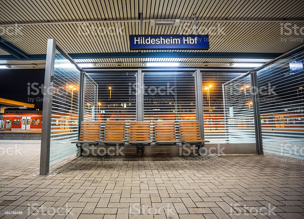 'Hildesheim Hbf' Train Station Sign stock photo