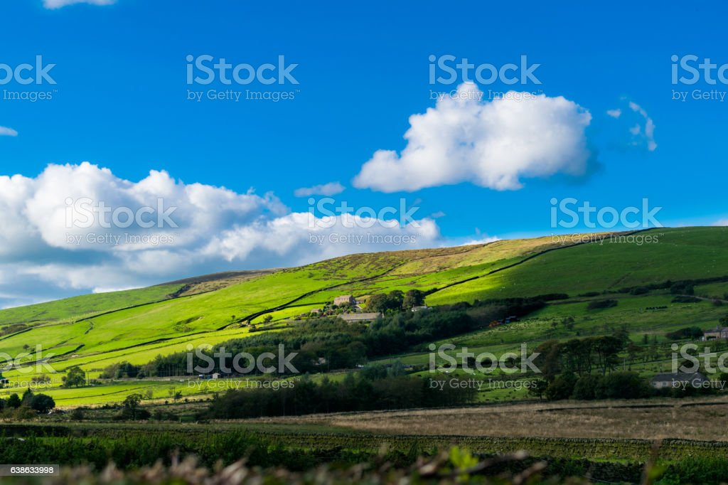 Hill and farms On summer stock photo