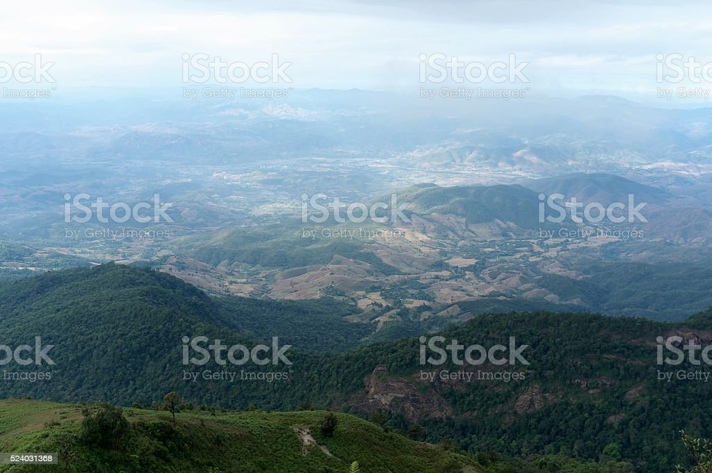 Hill and forest at Doi inthanon, Chiang Mai, Thailand. stock photo