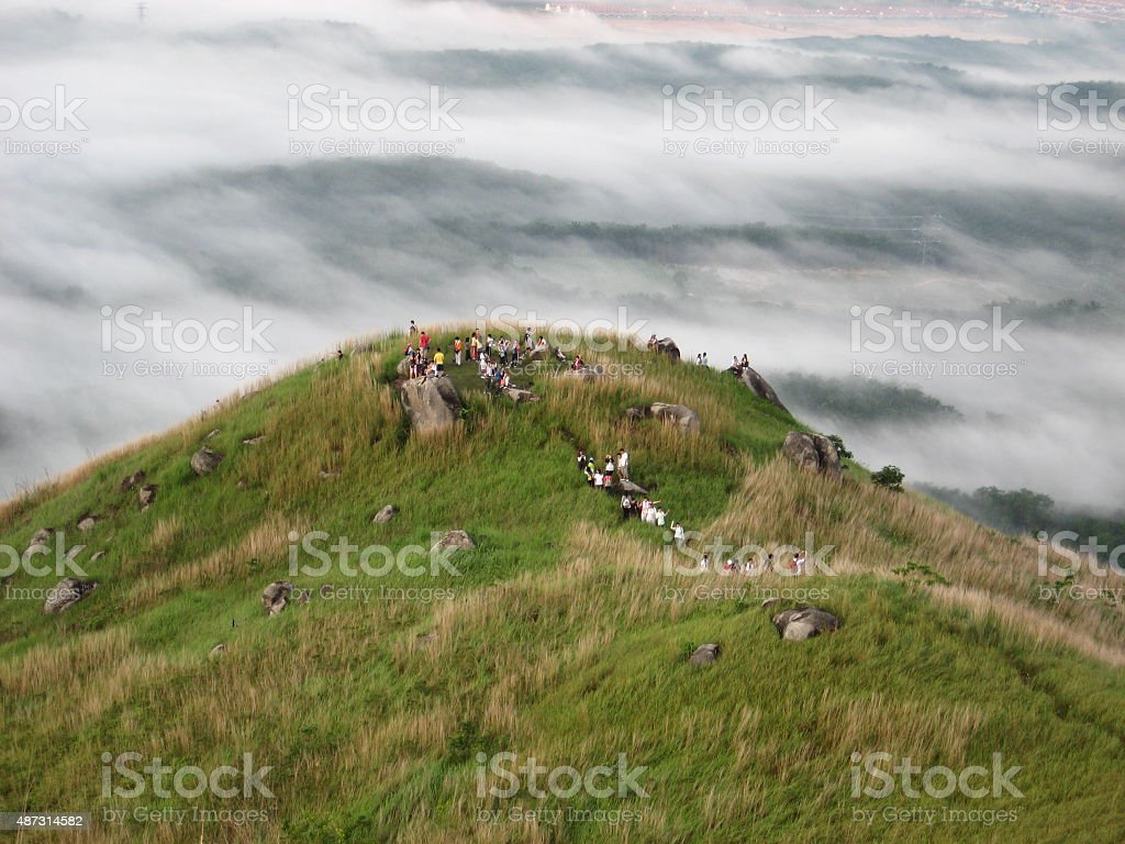 Hill in the cloud stock photo
