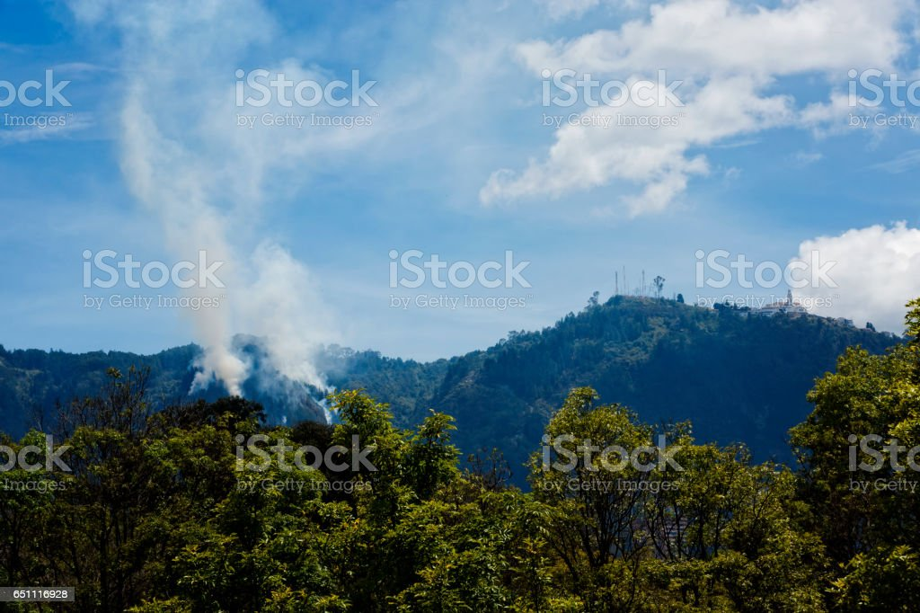 Hill Monserrate on fire stock photo