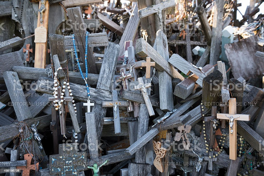 Hill of Crosses in Lithuania stock photo