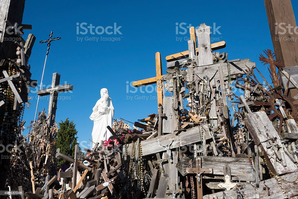 Hill of Crosses in Siauliai, Lithuania stock photo