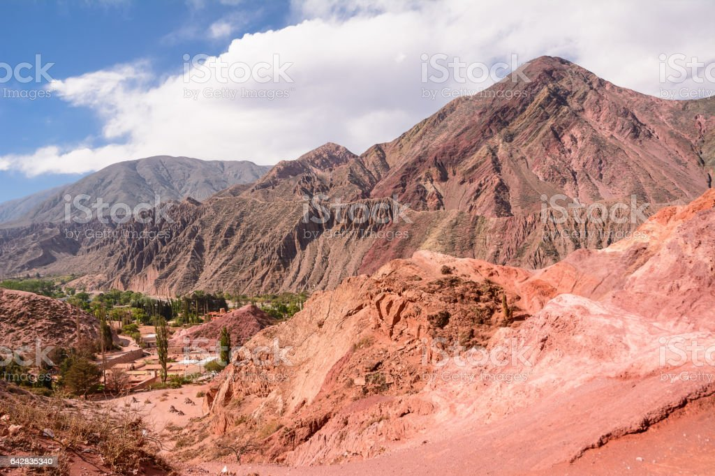 Hill of seven colours in Purmamarca (Argentina) stock photo