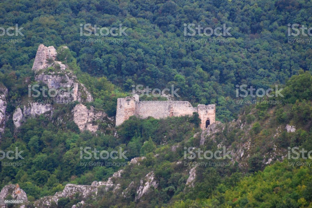 Hill on mountain Ozren with a remains of a medieval fortress called Soko Grad. stock photo