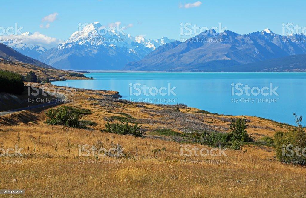 Hill on Pukaki Lake stock photo