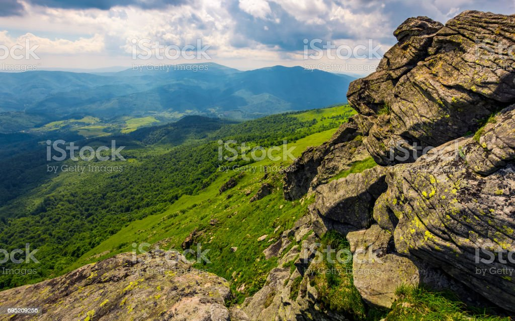 hill side with boulders in Carpathian mountains stock photo