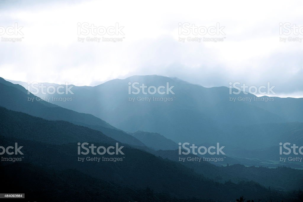 Hill Silhouettes in Blacks and Greys stock photo
