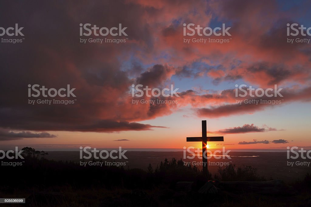 Hill Top Sunset Cross stock photo