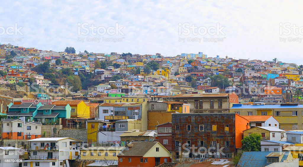 Hill top view of valparaiso chile skyline. stock photo
