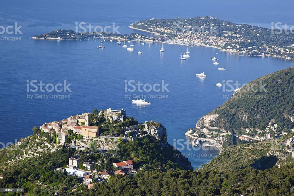 Hill top village of Eze on the Cote d'Azur stock photo
