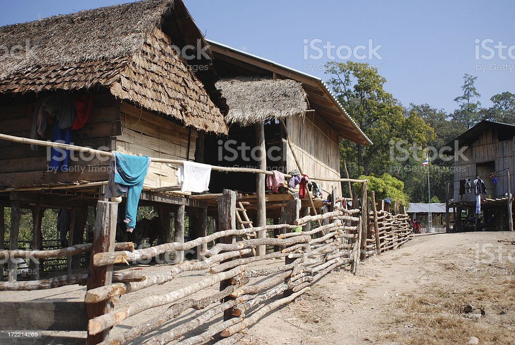 Hill tribe village stock photo