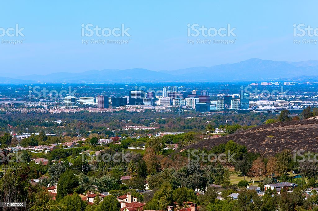 Hill view of Irvine, California, United States stock photo
