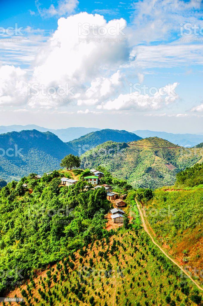 Hill village at Kalaw, Myanmar stock photo