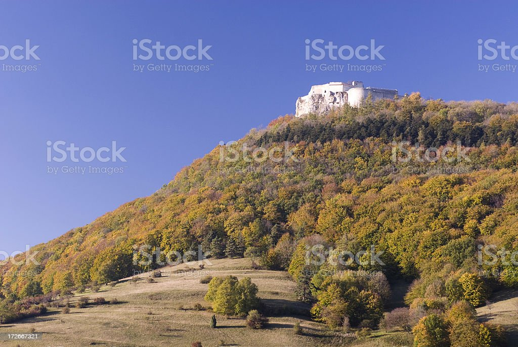 Hill with old Castle stock photo