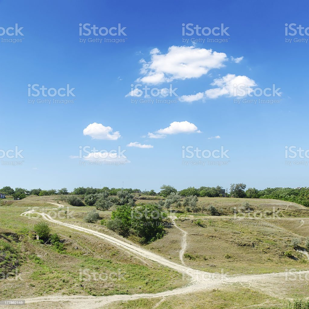 hill with trails under blue sky royalty-free stock photo