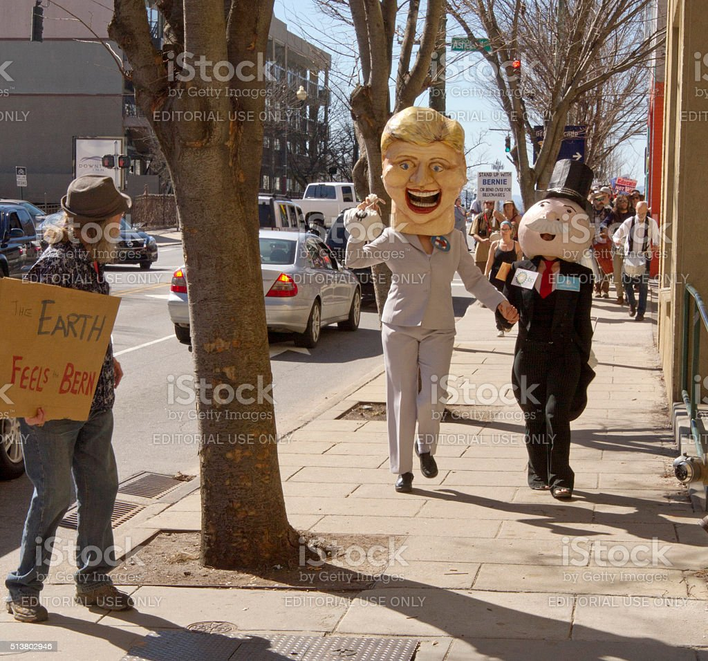 Hillary and Mr. Moneybags Don't Feel The Bern stock photo