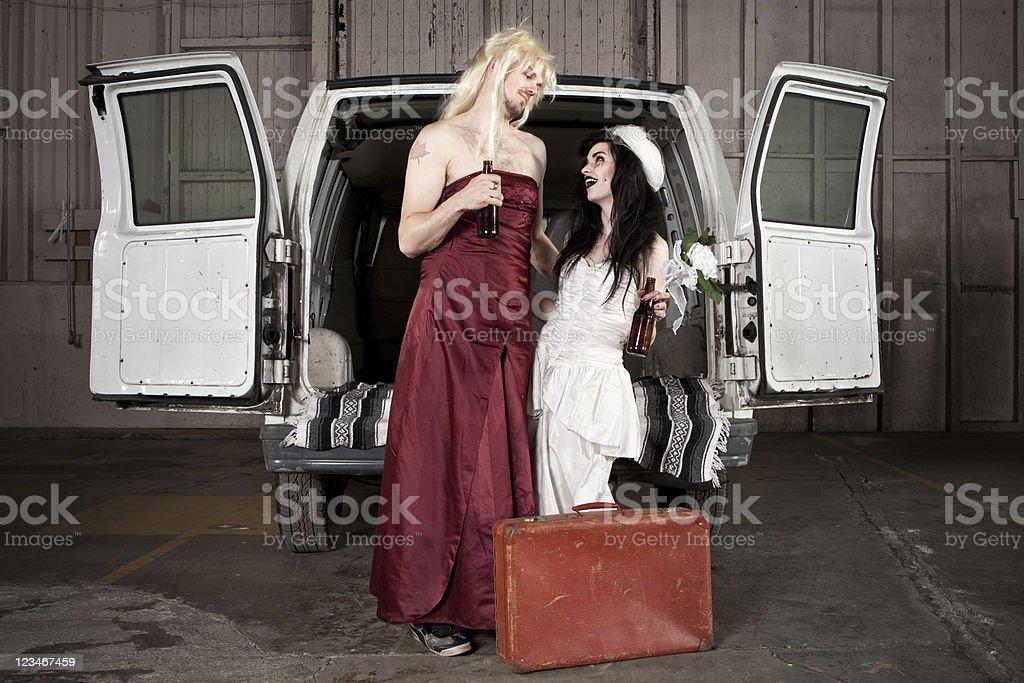 Hillbilly redneck inbred crossdressing wedding stock photo