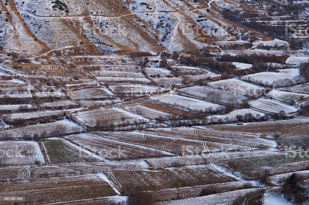 Hills and fields covered with snow stock photo