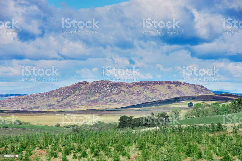 Hills and fields in a remote part of rural Scotland stock photo