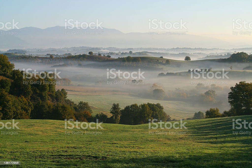Hills and fog royalty-free stock photo