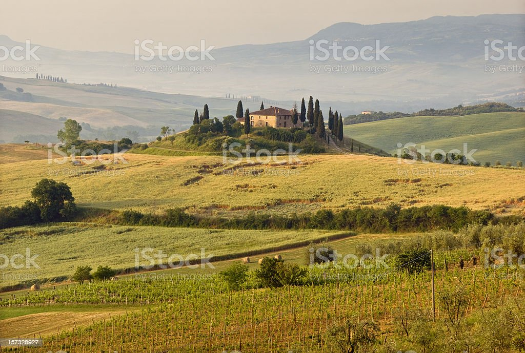 Hills and landscape of Tuscany stock photo