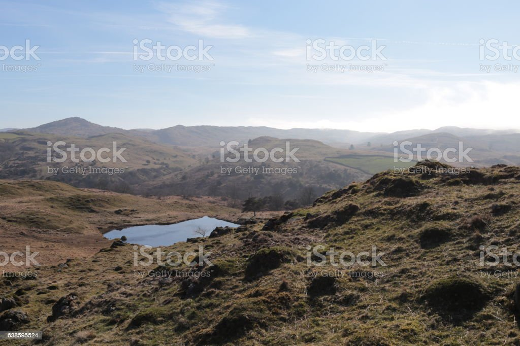 Hills and pond near lake district stock photo
