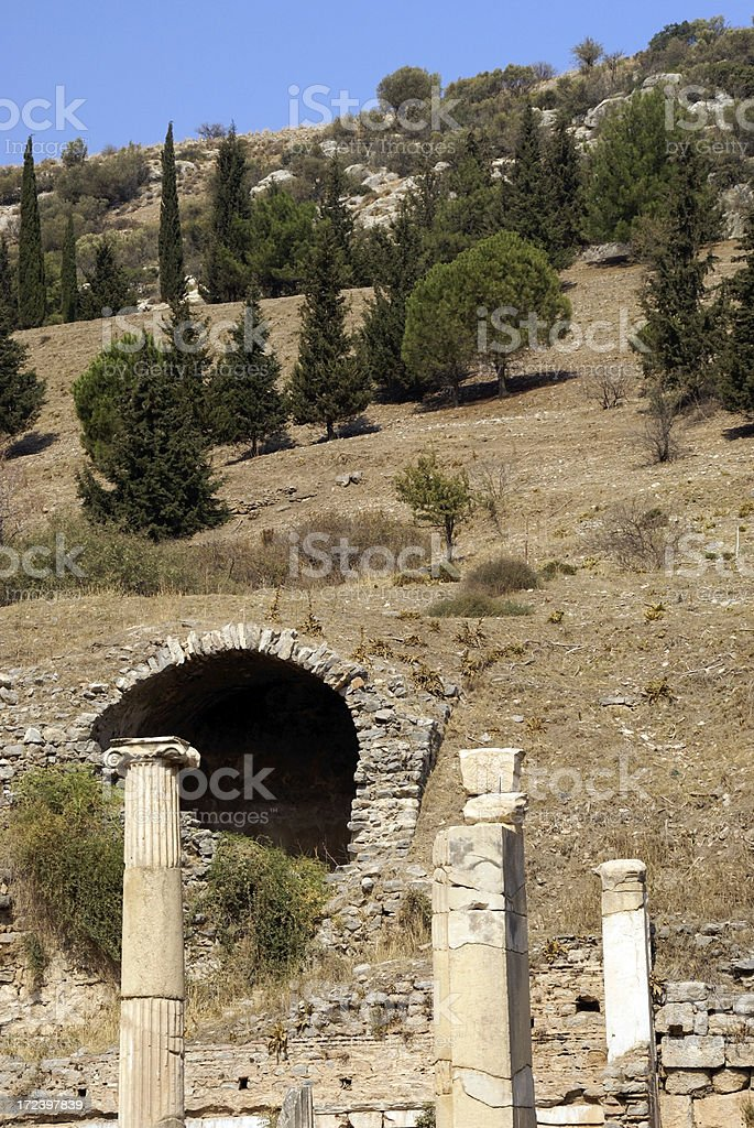 Hills and Ruins of Ancient Ephesus Turkey royalty-free stock photo