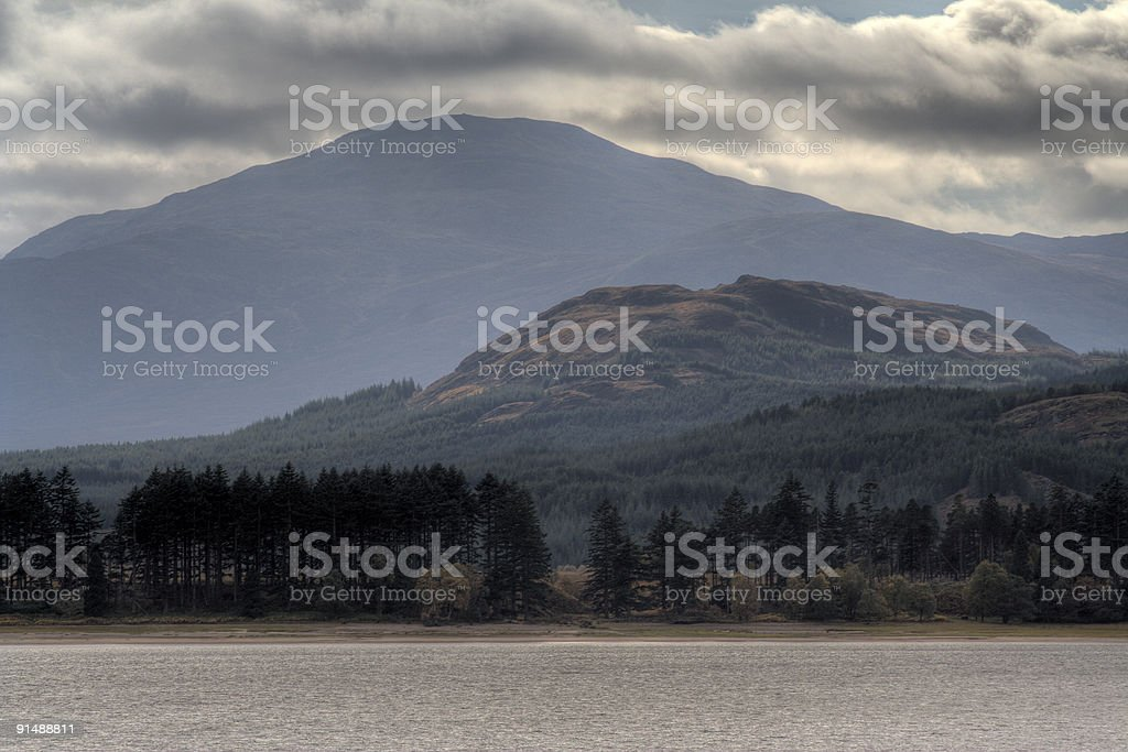 Hills by the lochside royalty-free stock photo
