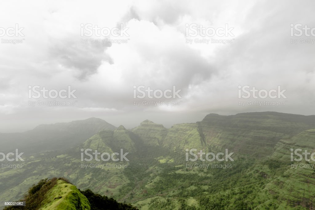 Hills of Matheran on a cloudy day stock photo
