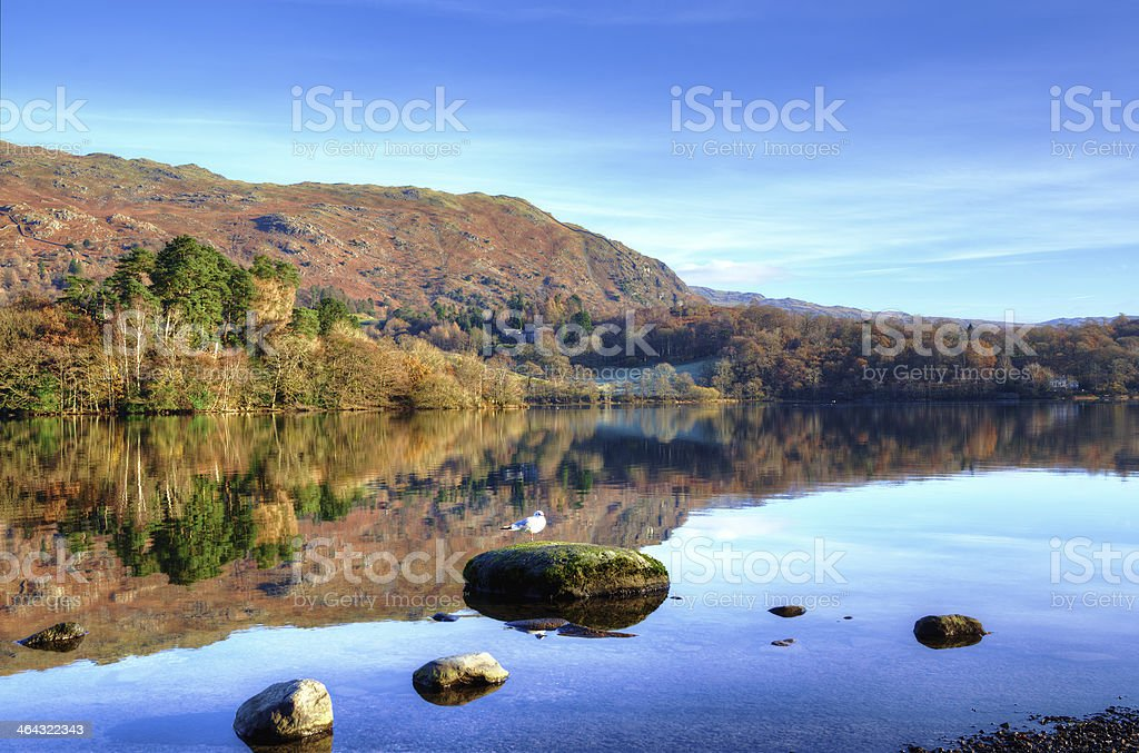 Hills reflected in Grasmere stock photo