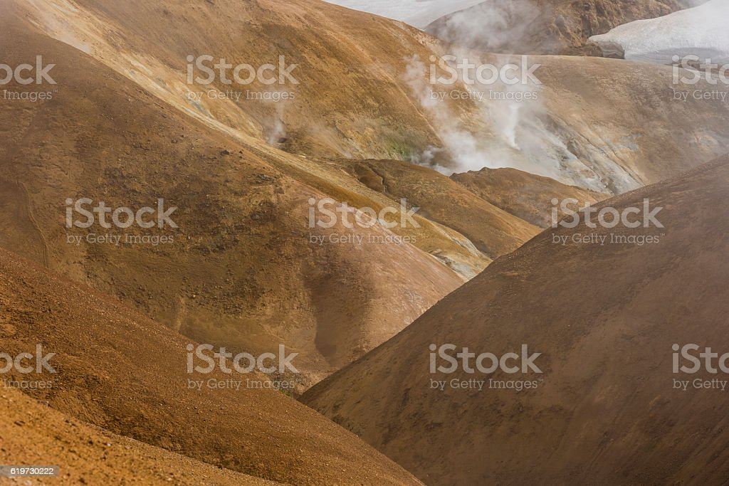 Hills with Steam Kerlingarfjoll Iceland stock photo