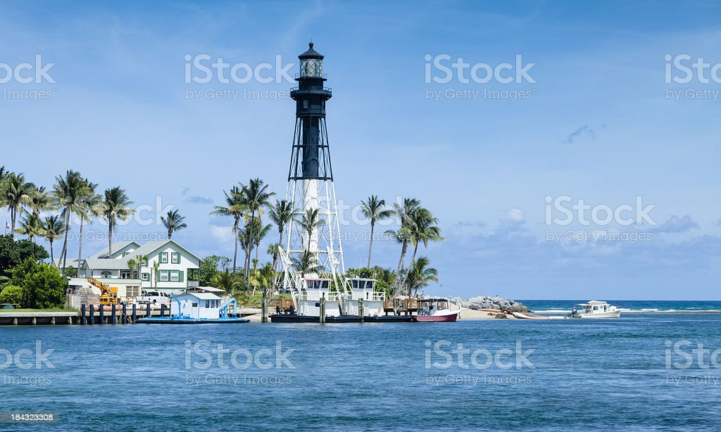 Hillsboro Inlet Lighthouse - Octagonal Iron Pyramid-shaped Tower royalty-free stock photo